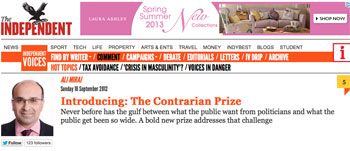Contrarian Prize introduced - The Independent